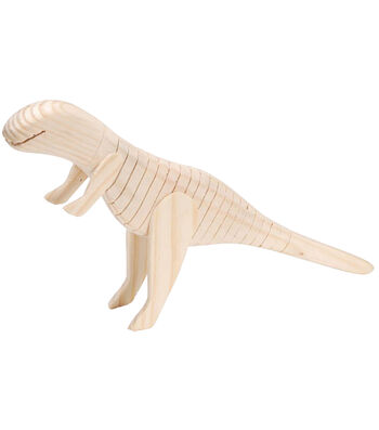 "Darice Wood Wiggle Animal-Dinosaur 8""X1-1/2"""