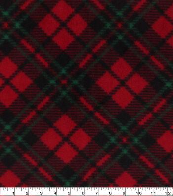 Anti-Pill Plush Fleece Fabric-Red Green Diagonal Plaid