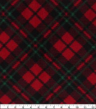 Christmas Anti-Pill Plush Fleece Fabric-Red & Green Diagonal Plaid
