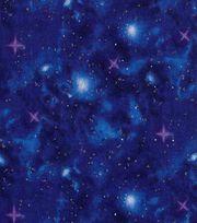 Keepsake Calico Cotton Fabric 43''-Metallic & Dark Blue Galaxy, , hi-res