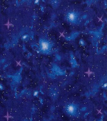 Keepsake Calico Cotton Fabric 43''-Metallic & Dark Blue Galaxy