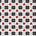 Super Snuggle Flannel Fabric-Paws And Hearts Black & White Buffalo Check