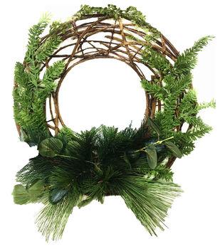 Handmade Holiday Christmas 17'' Primitive Vine & Greenery Wreath