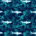 Luxe Flannel Fabric-Blue Watercolor Shark