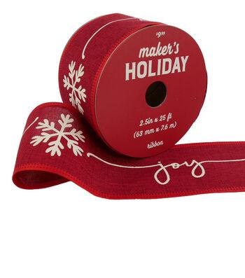 Maker's Holiday Christmas Ribbon 2.5''x25'-Joy on Red