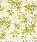 Premium Wide Cotton Fabric 108\u0022-Vine Floral Bouquet Yellow