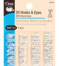 Dritz Hooks & Eyes With Round Eyes 20pcs Size 1 & 2