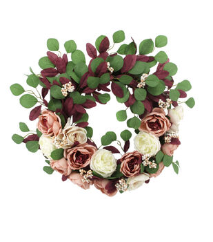 Blooming Autumn Rose, Berry & Peony Wreath-Blush & Cream