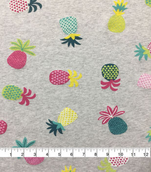 Doodles Cotton Spandex Interlock Knit Fabric-Lt Gray Tossed Pineapples