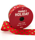 Maker\u0027s Holiday Christmas Ribbon 1.5\u0027\u0027x30\u0027-Lime Foil Dots on Red