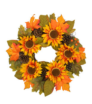 Blooming Autumn Sunflower, Pinecone & Leaf Wreath