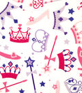 Doodles Juvenile Apparel Fabric 57\u0022-Princess Crowns Interlock