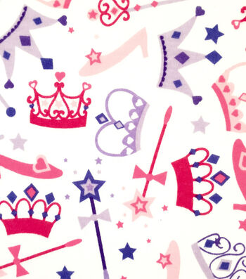 Doodles Juvenile Apparel Fabric -Princess Crowns Interlock