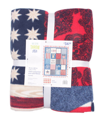 """No Sew Fleece Throw 72""""-Land of the Free Patchwork"""