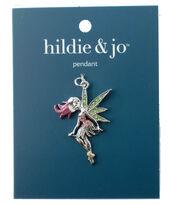 hildie & jo Silver Fairy Wings Pendant-Pink & Green Crystal, , hi-res