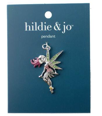 hildie & jo Silver Fairy Wings Pendant-Pink & Green Crystal