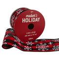 Maker\u0027s Holiday Ribbon 2.5\u0027\u0027x25\u0027-Snowflakes on Red & Black Plaid