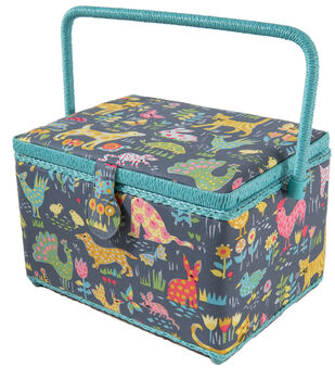 Large Rectangle Sewing Basket-Animals on Gray