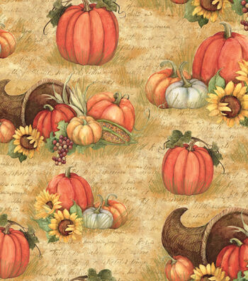"Harvest Cotton Fabric 43""-Horn Of Plenty"