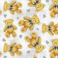 Nursery Fleece Fabric-Teddy Bear Grey