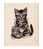 Inkadinkado Kitty And Yarn Stamp, , hi-res