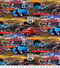 Novelty Cotton Fabric -Route 66 Hot Rods