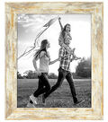 Wood Single Image Picture Frame 8\u0027\u0027x10\u0027\u0027-Fallon White & Gold Rustic Wash