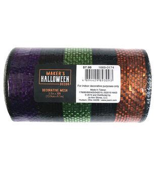 Maker's Halloween Decor Decorative Mesh 5.5''x30'-Multi Stripes