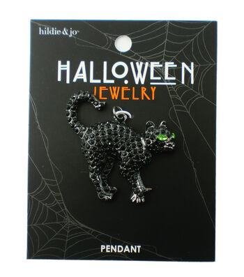 hildie & jo Halloween Cat Silver Pendant-Black Stones