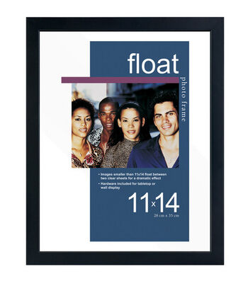 Wood & Glass Float Photo Frame 11''x14''-Black