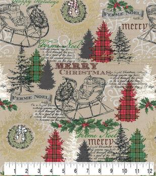 Christmas Cotton Fabric-Noel Brown Metallic