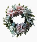 Blooming Holiday Christmas Pink Poinsettia & Rose Wreath