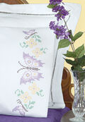Stamped Pillowcases With White Perle Edge 2/Pkg-Butterflies
