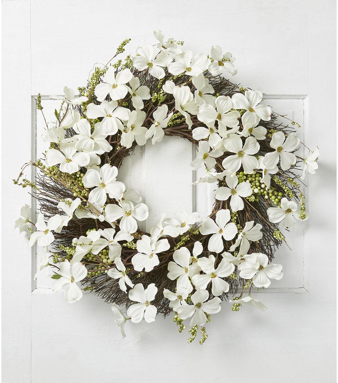 Fresh Picked Spring Dogwood U0026 Berry Wreath White
