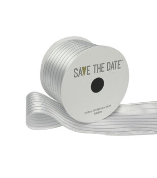 "Save the Date 2.5"" x 15ft Ribbon-White Silver Stripe"