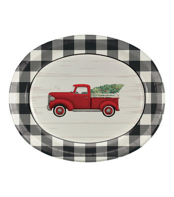 Maker's Holiday 8 pk 10''x12'' Oval Plates-Christmas Truck