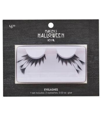 Maker's Halloween Eyelashes with Long Feathers & Glue-Black