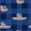 Gonzoga University Bulldogs Fleece Fabric-Buffalo Plaid