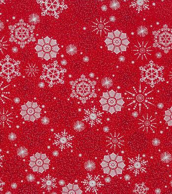 "Keepsake Calico Holiday Cotton Fabric 43""-Metallic Snowflake"