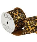 Offray 2.25\u0022 x 9\u0027 Damask Ribbon-Black/Gold
