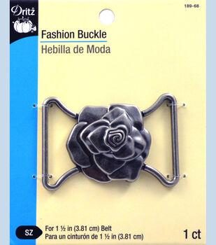 "Dritz Fashion Buckle Rose Antique Silver 1.5"""