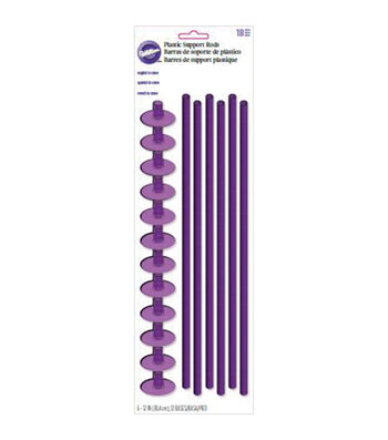 Wilton Plastic Support Dowel Rods-10 Flanges & 4 Straws
