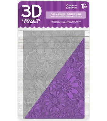 Crafter's Companion 5''x7'' 3D Embossing Folder-Floral Fusion