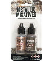 Tim Holtz 2 pk Alcohol Ink Metallic Mixatives-Rose Gold & Gunmetal, , hi-res