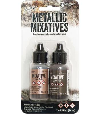 Tim Holtz 2 pk Alcohol Ink Metallic Mixatives-Rose Gold & Gunmetal