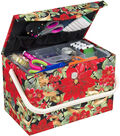 Everything Mary Tall Rectangle Sewing Box with Handle-Poinsettia