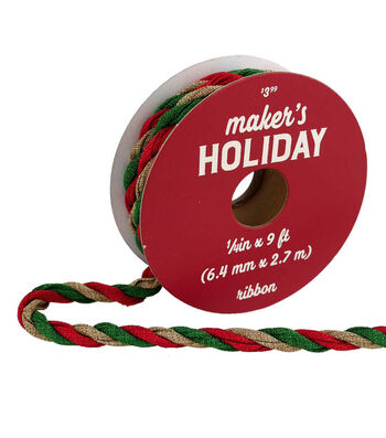 Maker's Holiday Twisted Fabric Ribbon 1/4''x9'-Red, Green & Natural