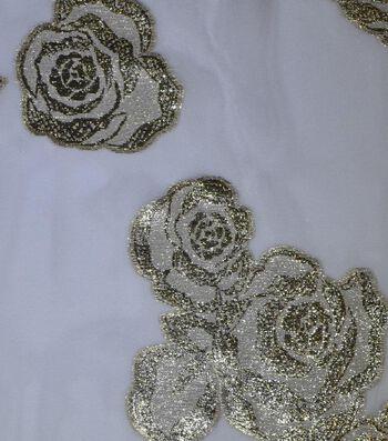 Gianna Silk Metallic Jacquard Print Sheer Fabric 52''-Floral on White