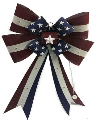 Americana Patriotic LED Bow-Stars & White, Red & Blue Stripes