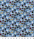 Novelty Cotton Fabric -Mini Tossed Dogs on Blue